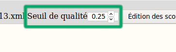 The quality threshold selector of the toolbar